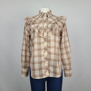 MWG Brown Ruffle Western Snap Front Top Size M